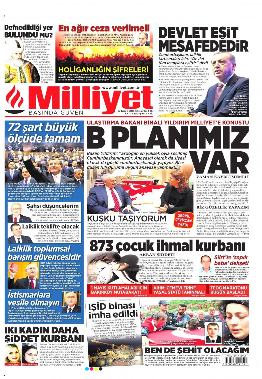 Milliyet Gazetesi Oku 27 Nisan 2016 Çarşamba