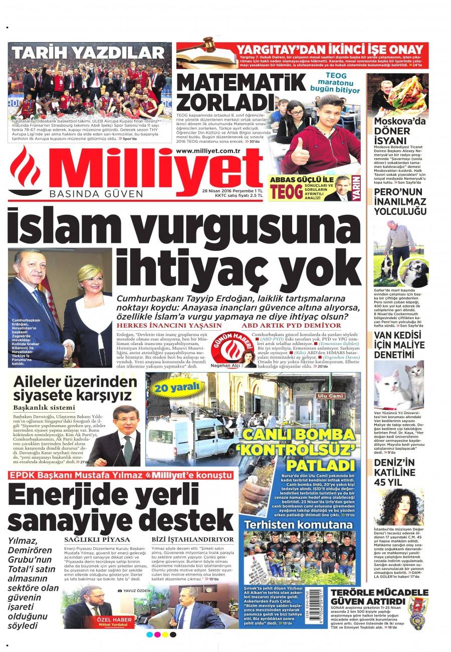 Milliyet Gazetesi Oku 28 Nisan 2016 Perşembe