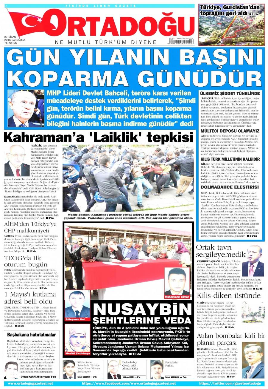 Ortadoğu Gazetesi Oku Bugün 27 Nisan 2016 Çarşamba