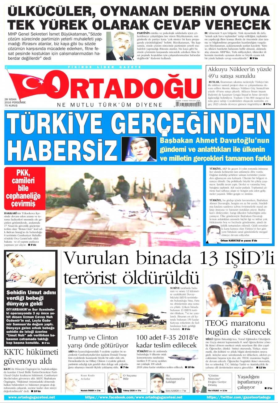 Ortadoğu Gazetesi Oku Bugün 28 Nisan 2016 Perşembe