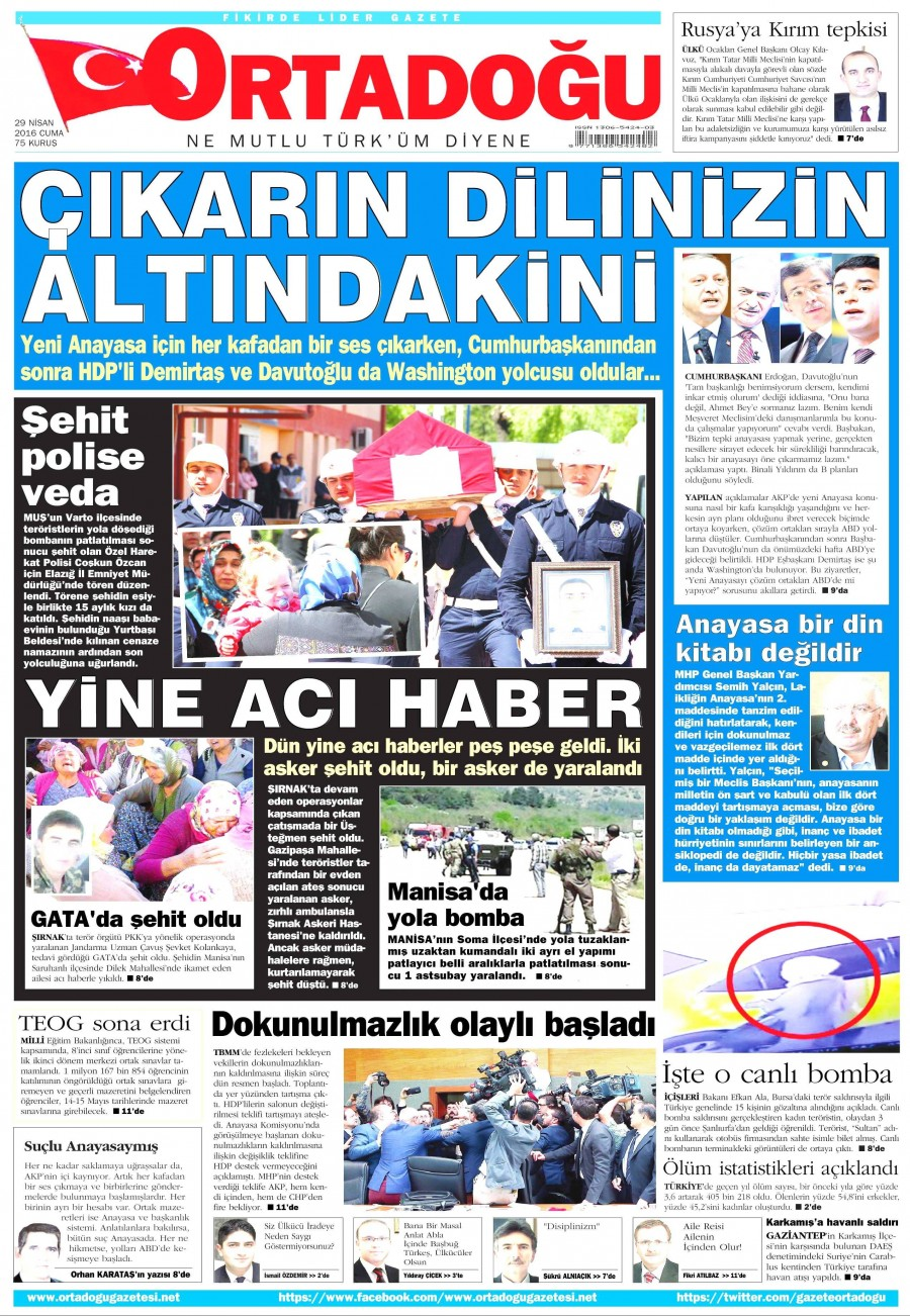 Ortadoğu Gazetesi Oku Bugün 29 Nisan 2016 Cuma