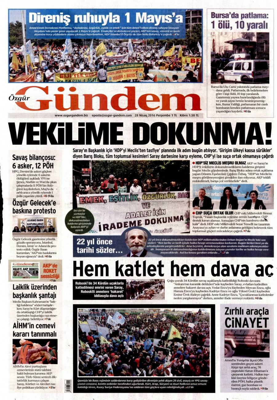 Özgür Gündem Gazetesi Oku Bugün 28 Nisan 2016 Perşembe