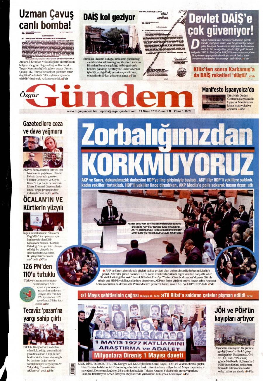 Özgür Gündem Gazetesi Oku Bugün 29 Nisan 2016 Cuma