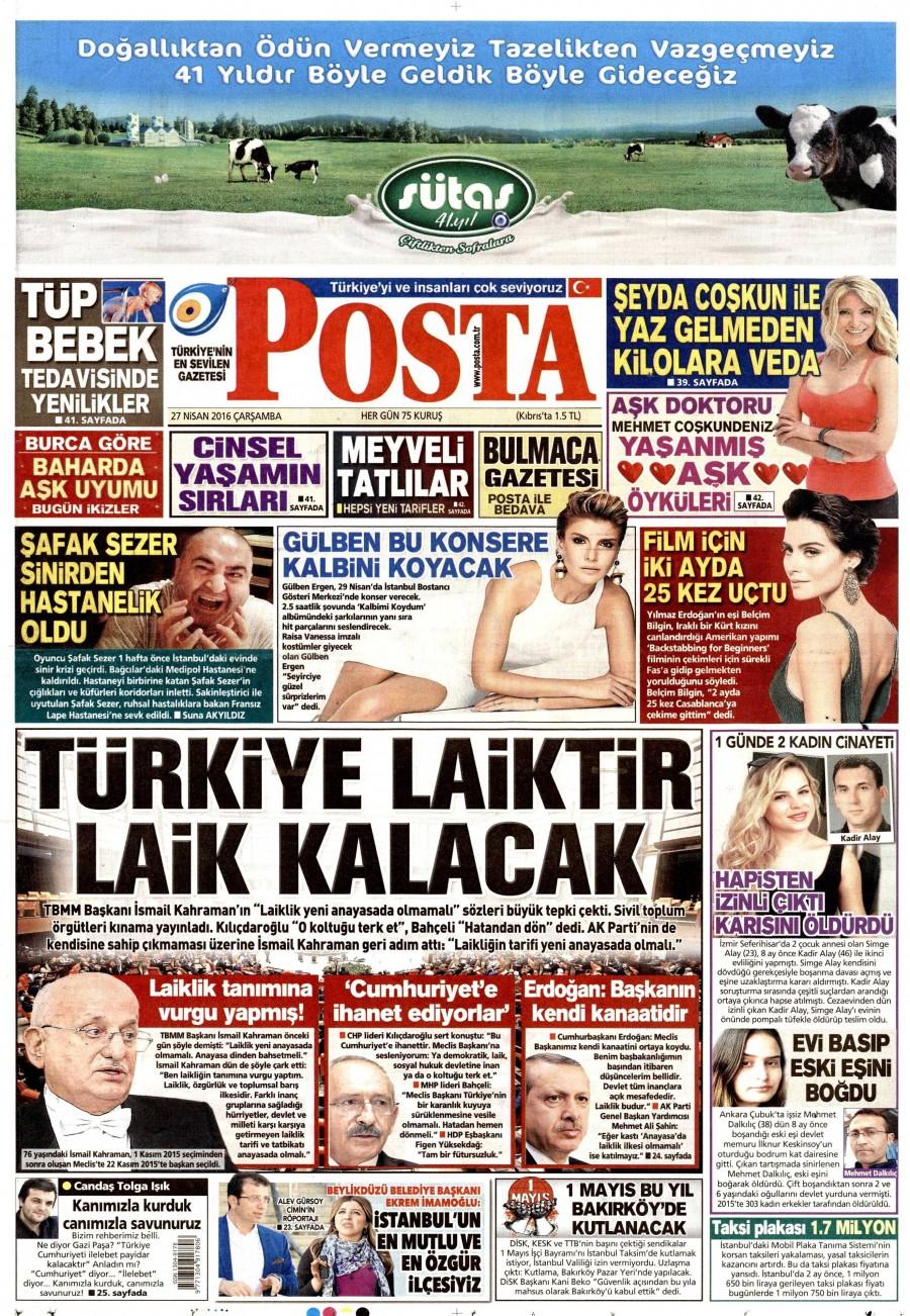 Posta Gazetesi Oku Bugün 27 Nisan 2016 Çarşamba