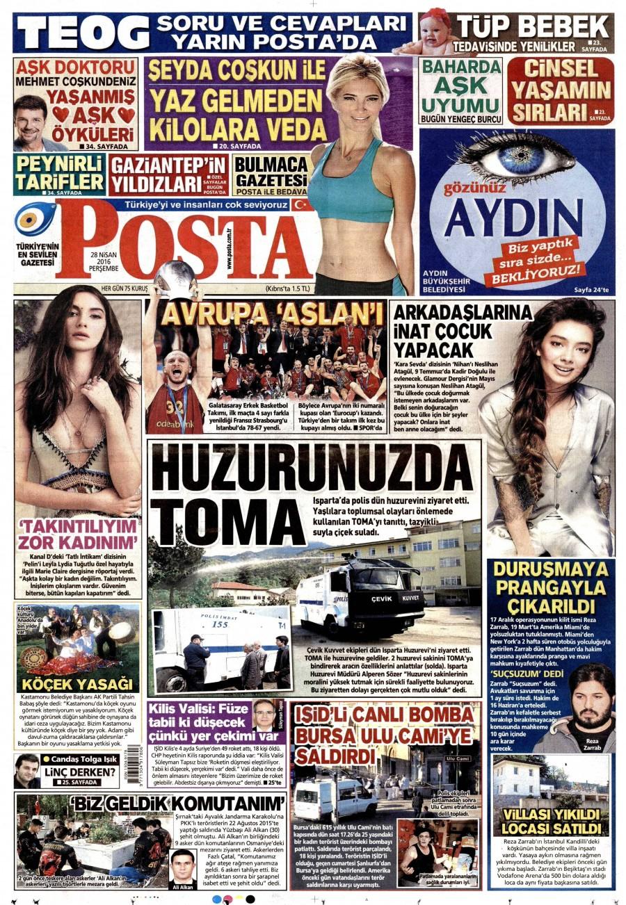 Posta Gazetesi Oku Bugün 28 Nisan 2016 Perşembe