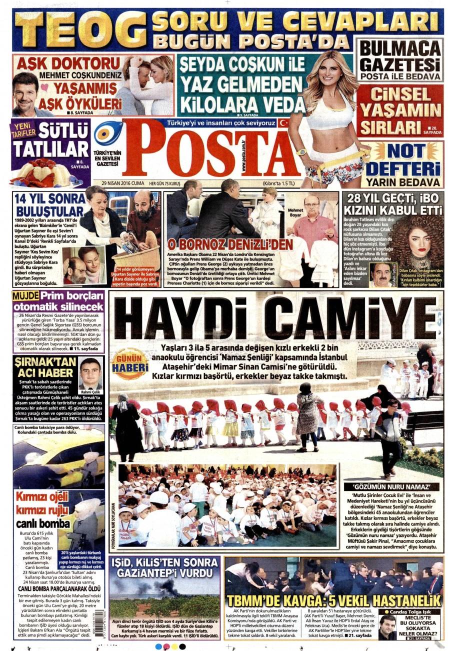 Posta Gazetesi Oku Bugün 29 Nisan 2016 Cuma