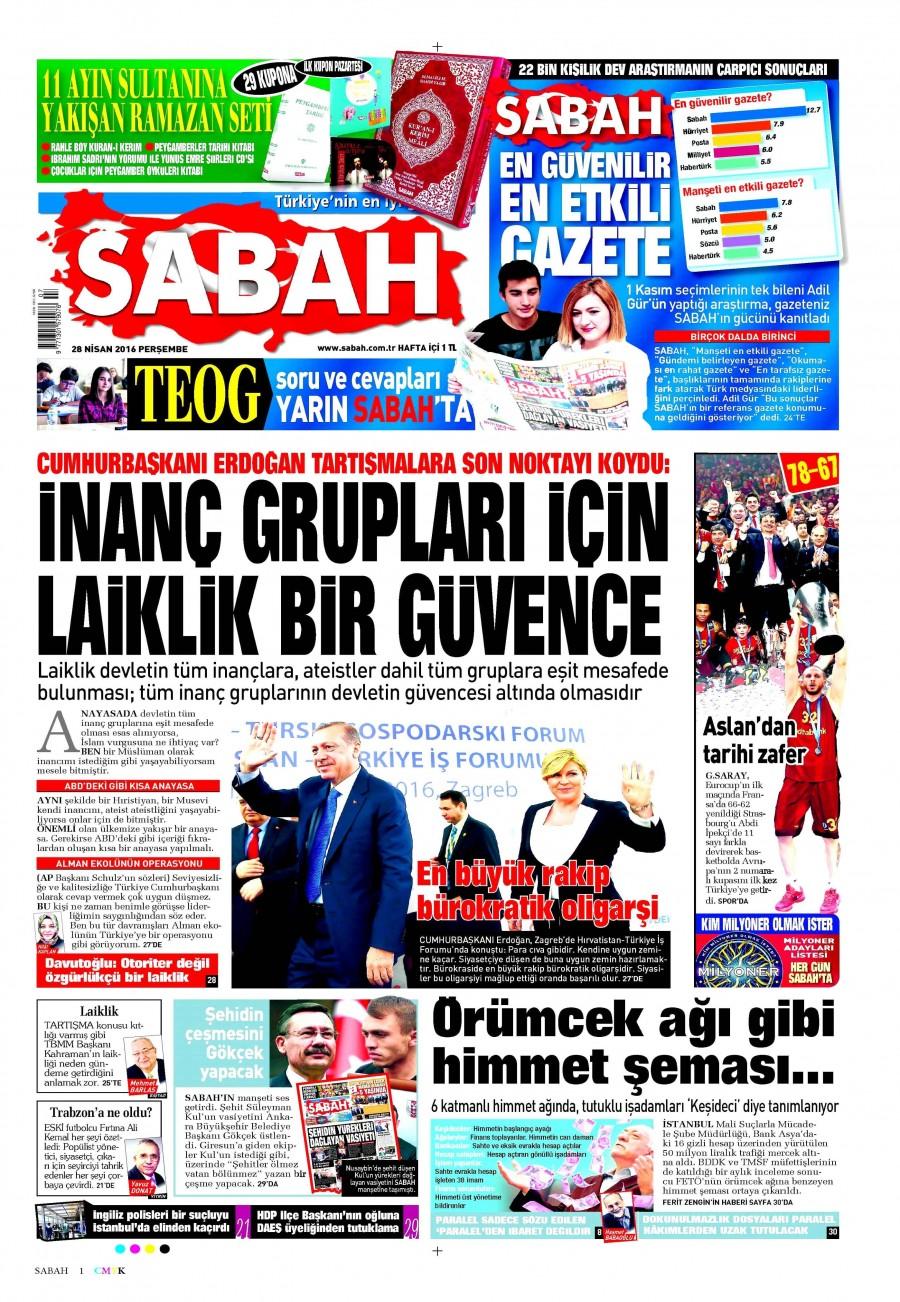Sabah Gazetesi Oku 29 Nisan 2016 Cuma