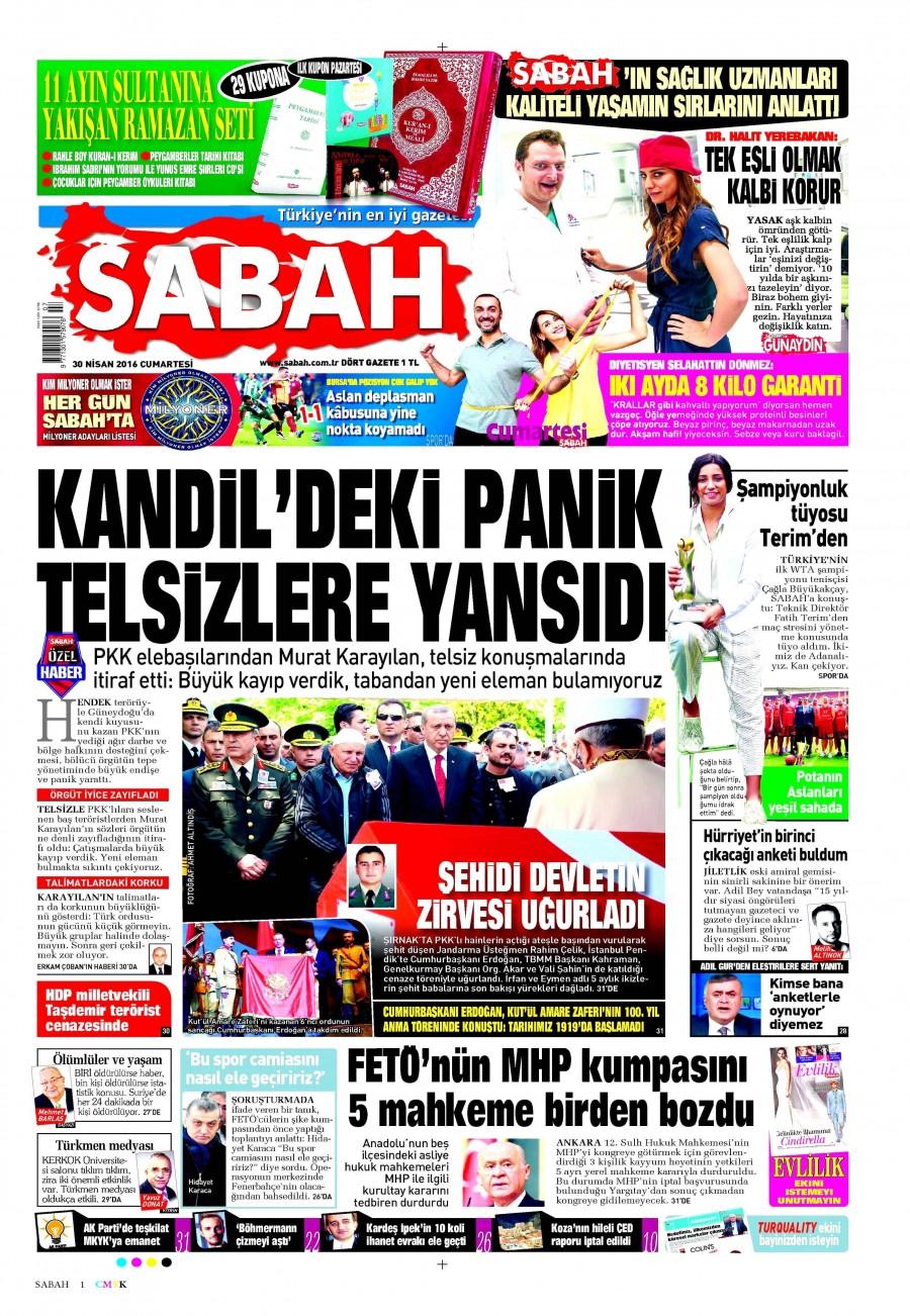 Sabah Gazetesi Oku Bugün 30 Nisan 2016 Cumartesi