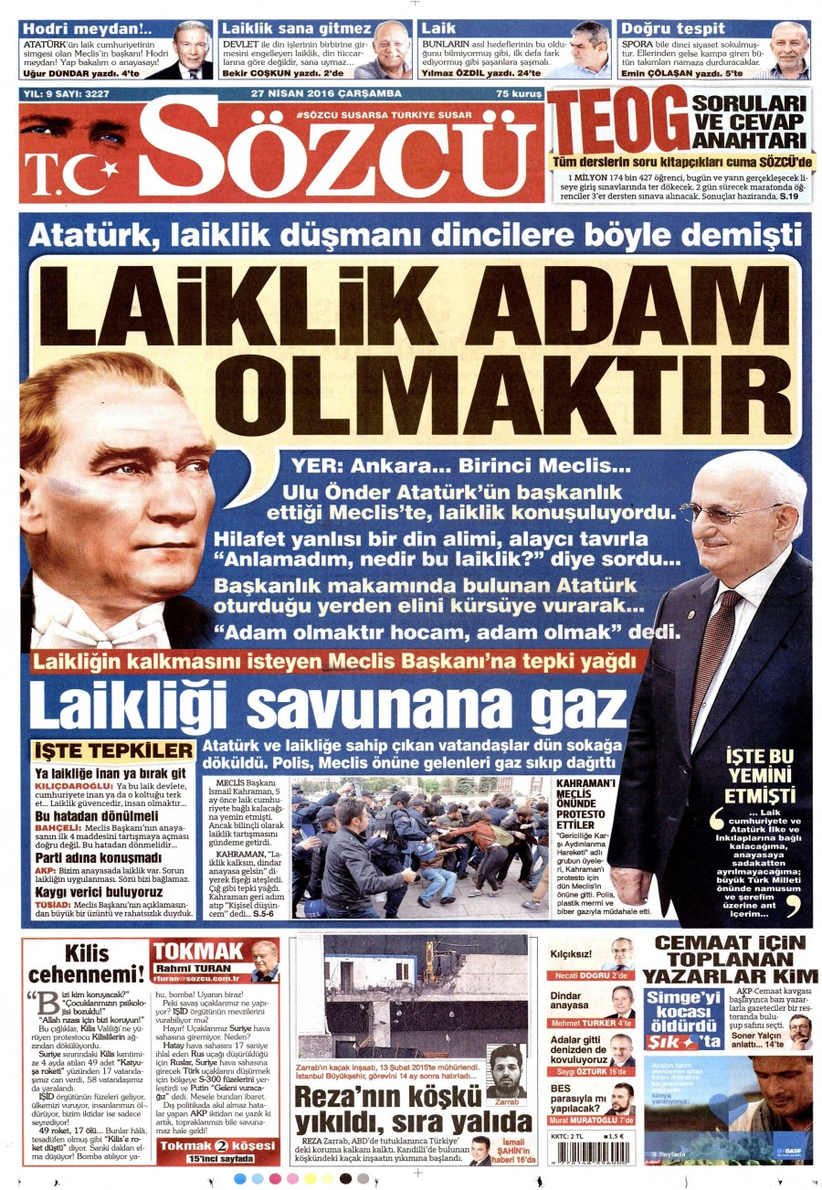 Sözcü Gazetesi Oku 27 Nisan 2016 Çarşamba