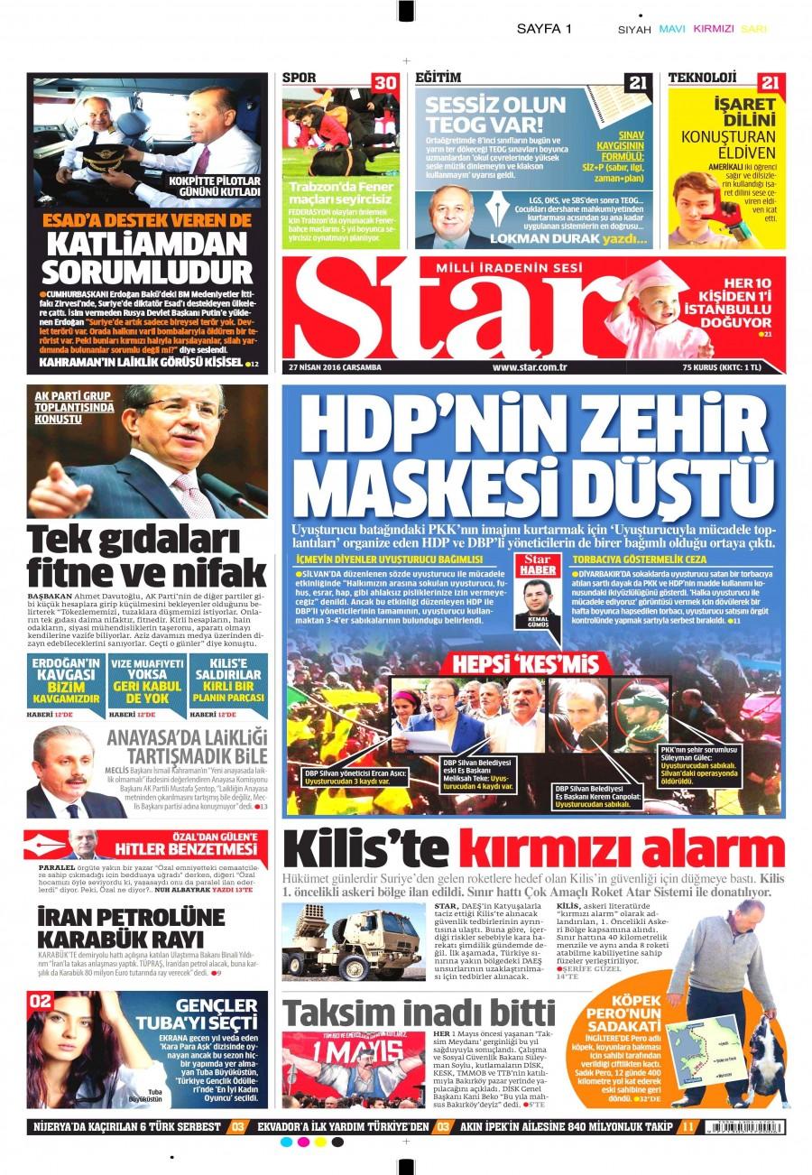 Star Gazetesi Oku Bugün 27 Nisan 2016 Çarşamba