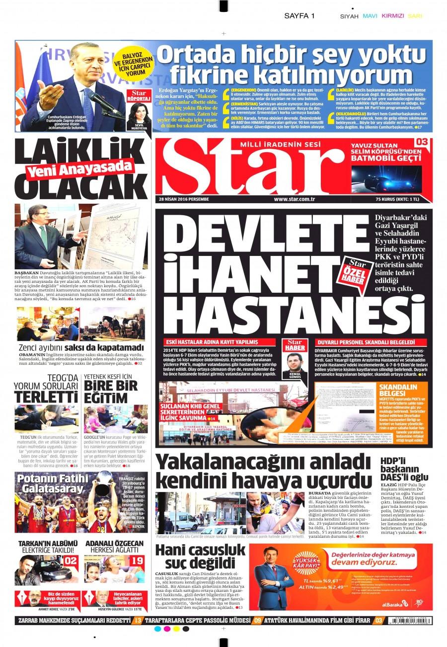 Star Gazetesi Oku Bugün 28 Nisan 2016 Perşembe