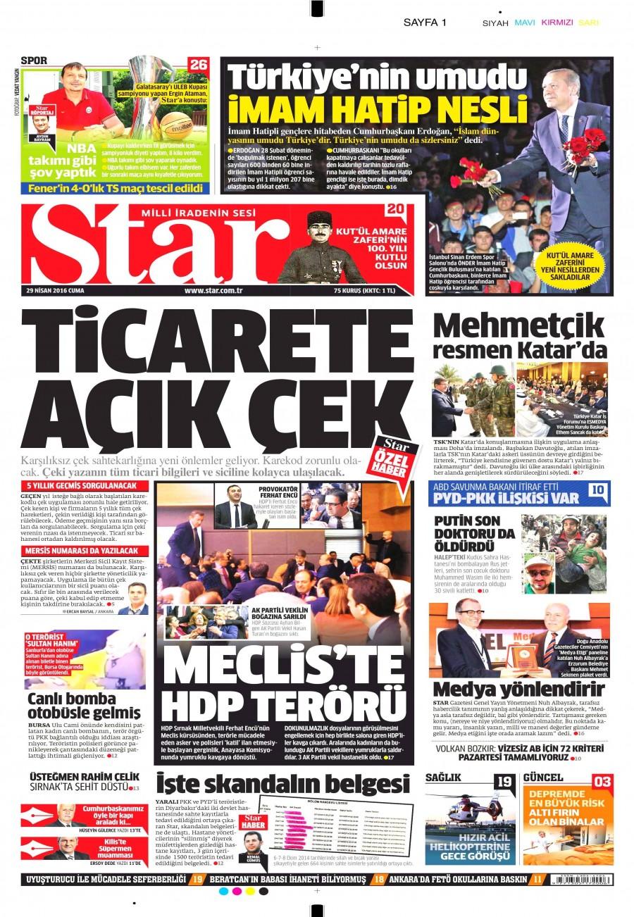 Star Gazetesi Oku Bugün 29 Nisan 2016 Cuma