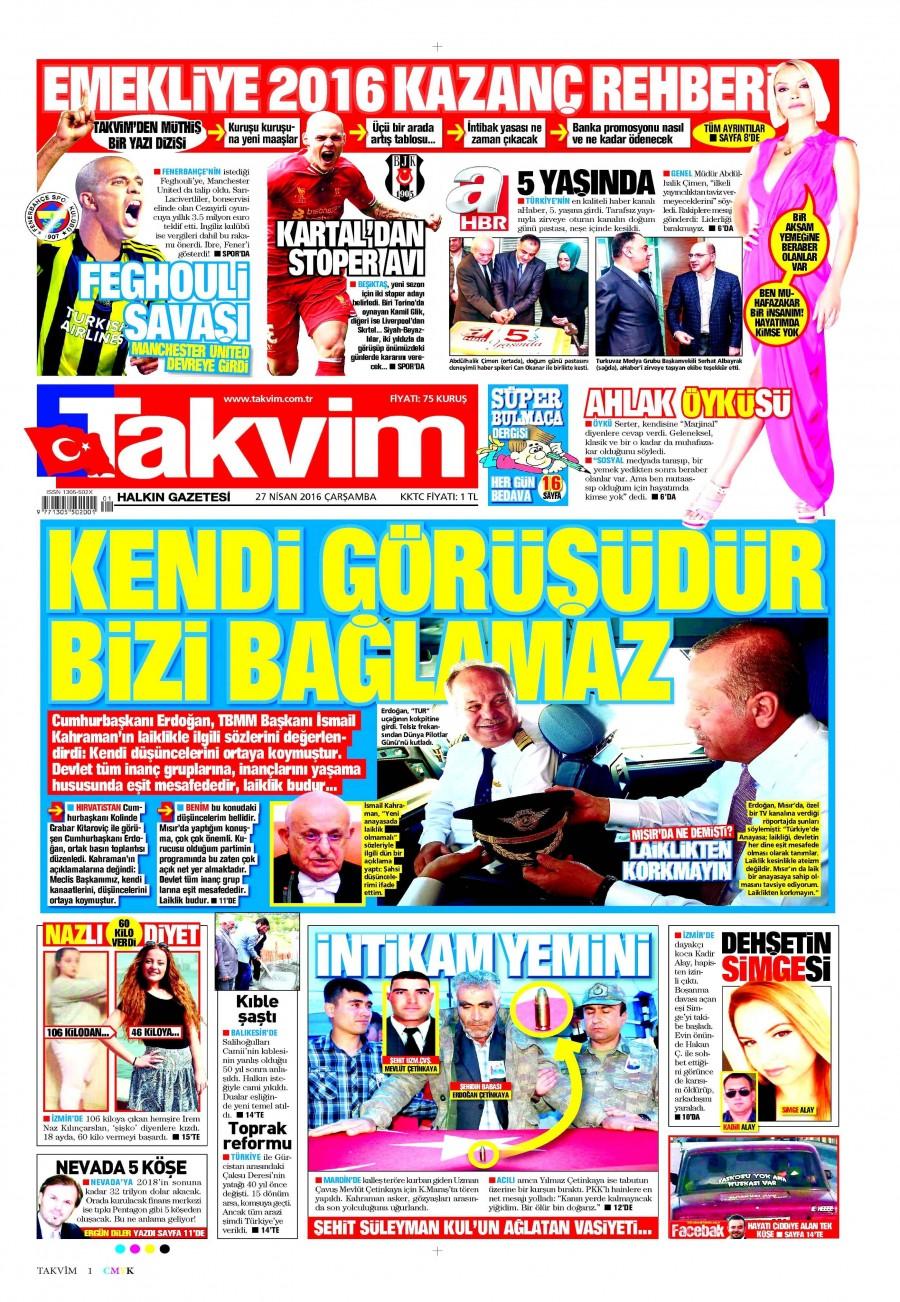 Takvim Gazetesi Oku 27 Nisan 2016 Çarşamba