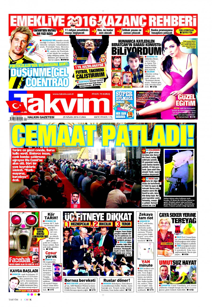 Takvim Gazetesi Oku Bugün 29 Nisan 2016 Cuma