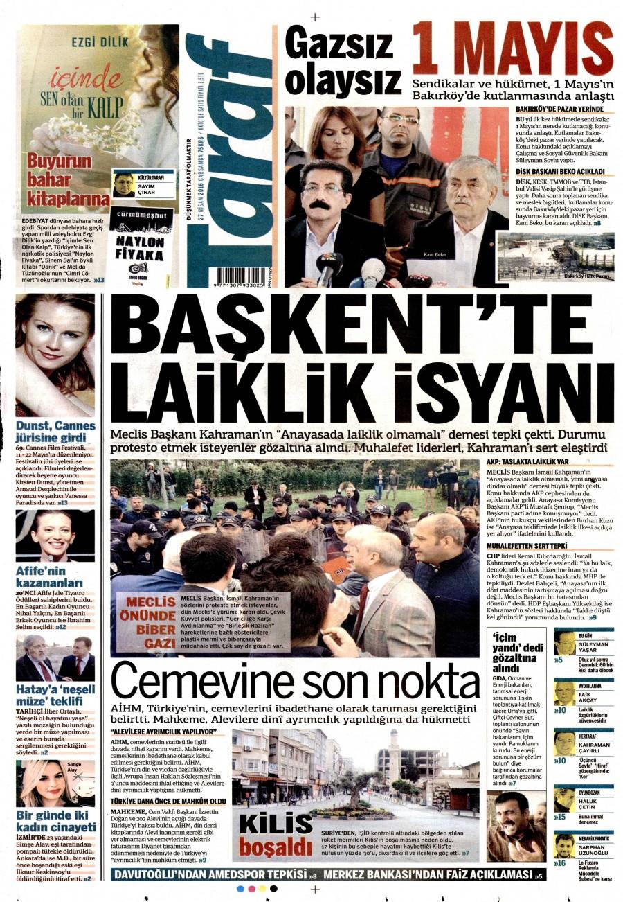 Taraf Gazetesi Oku 27 Nisan 2016 Çarşamba