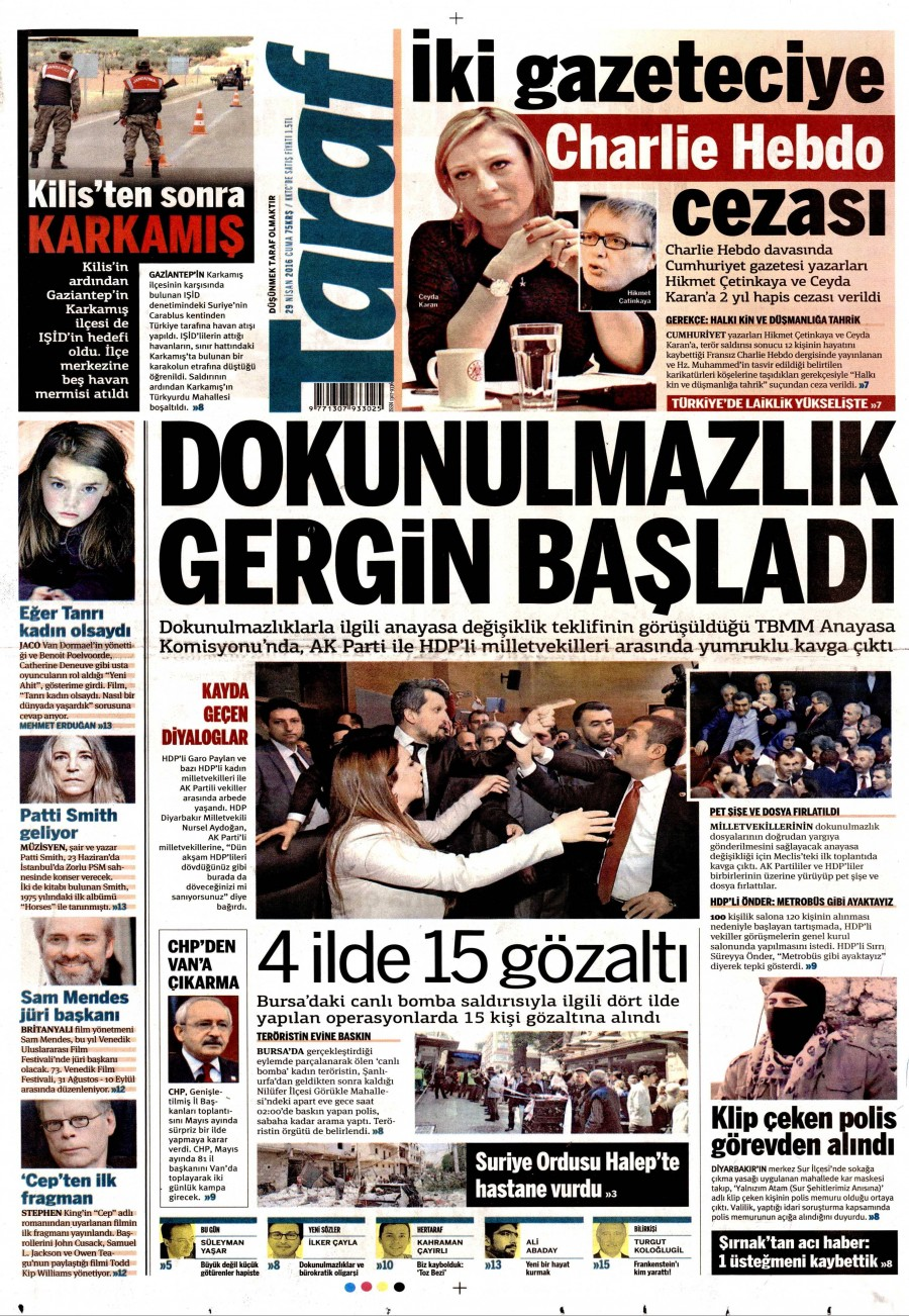 Taraf Gazetesi Oku Bugün 29 Nisan 2016 Cuma
