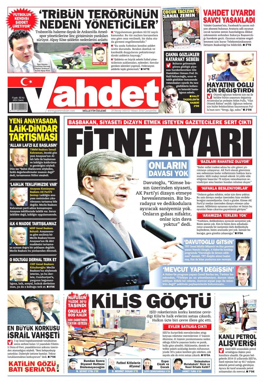 Vahdet Gazetesi Oku Bugün 27 Nisan 2016 Çarşamba