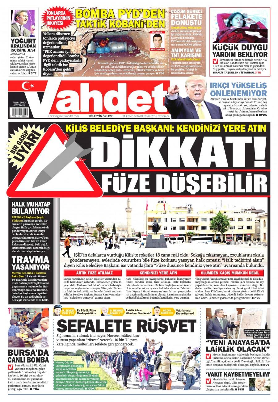 Vahdet Gazetesi Oku 28 Nisan 2016 Perşembe