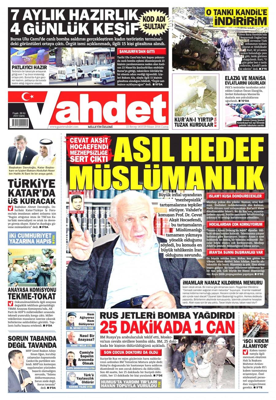 Vahdet Gazetesi Oku 30 Nisan 2016 Cumartesi