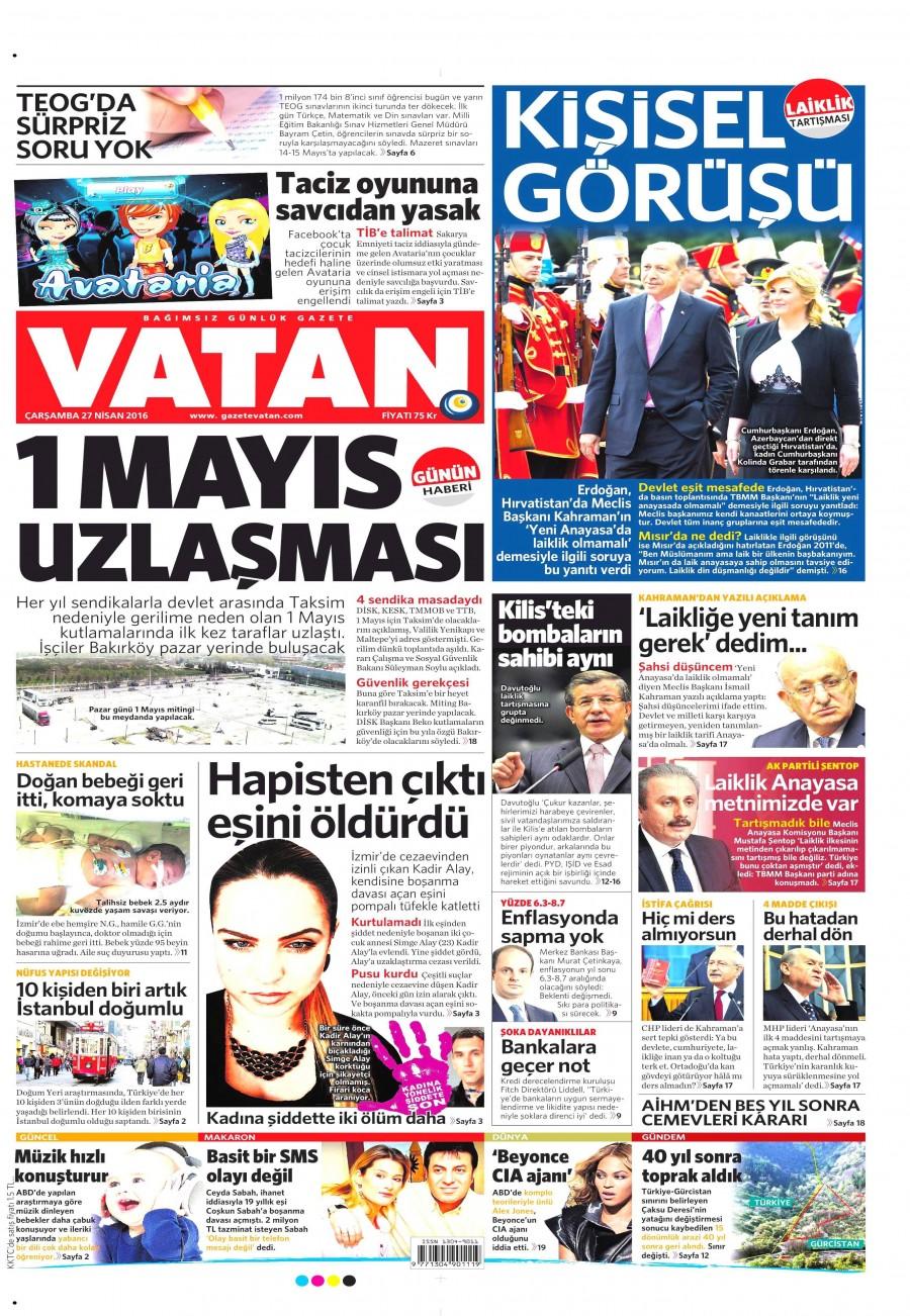 Vatan Gazetesi Oku Bugün 27 Nisan 2016 Çarşamba
