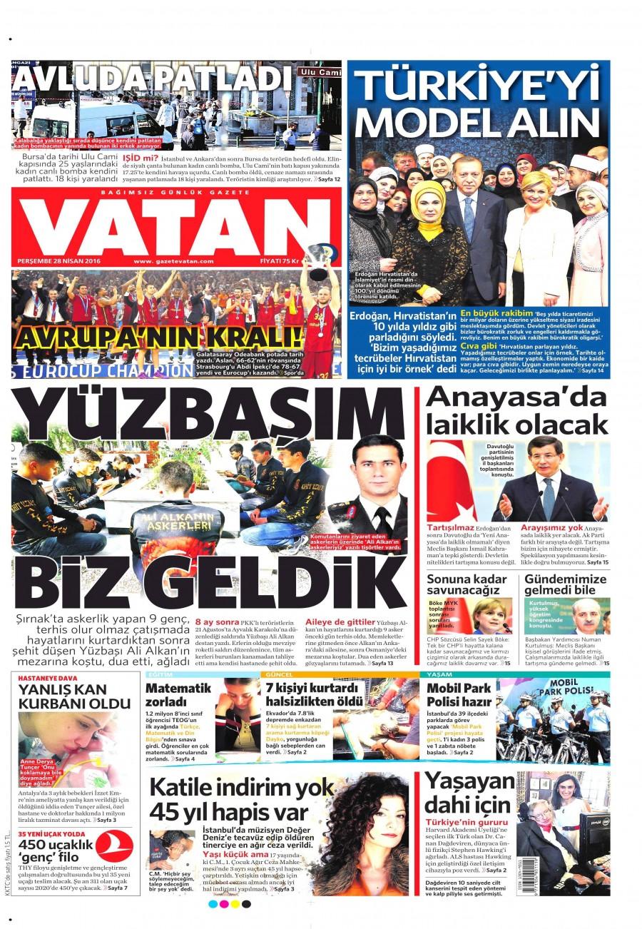 Vatan Gazetesi Oku Bugün 28 Nisan 2016 Perşembe