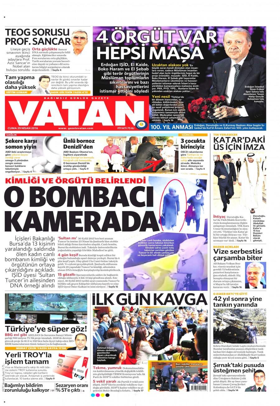 Vatan Gazetesi Oku 30 Nisan 2016 Cumartesi