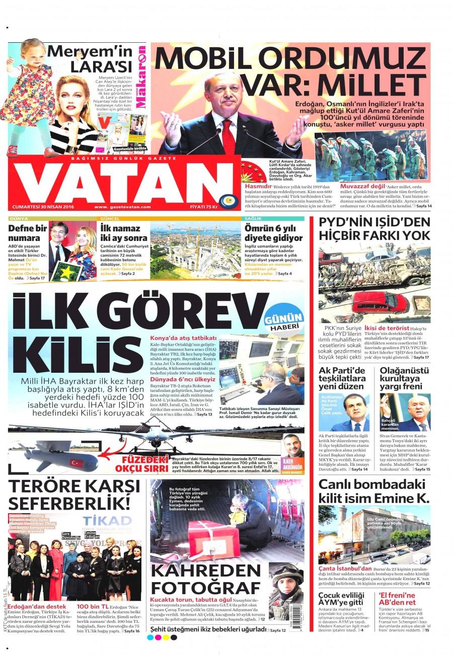 Vatan Gazetesi Oku Bugün 30 Nisan 2016 Cumartesi