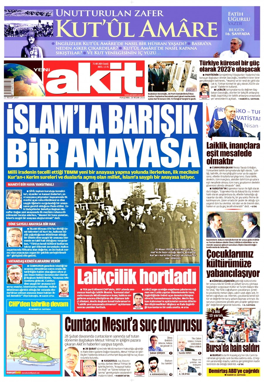 Yeni Akit Gazetesi Oku Bugün 28 Nisan 2016 Perşembe