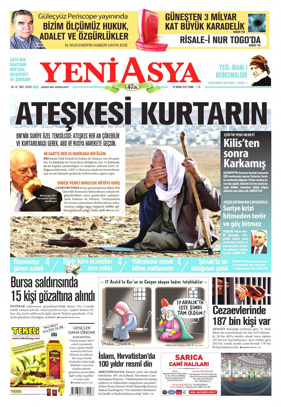 Yeni Asya Gazetesi Oku 30 Nisan 2016 Cumartesi