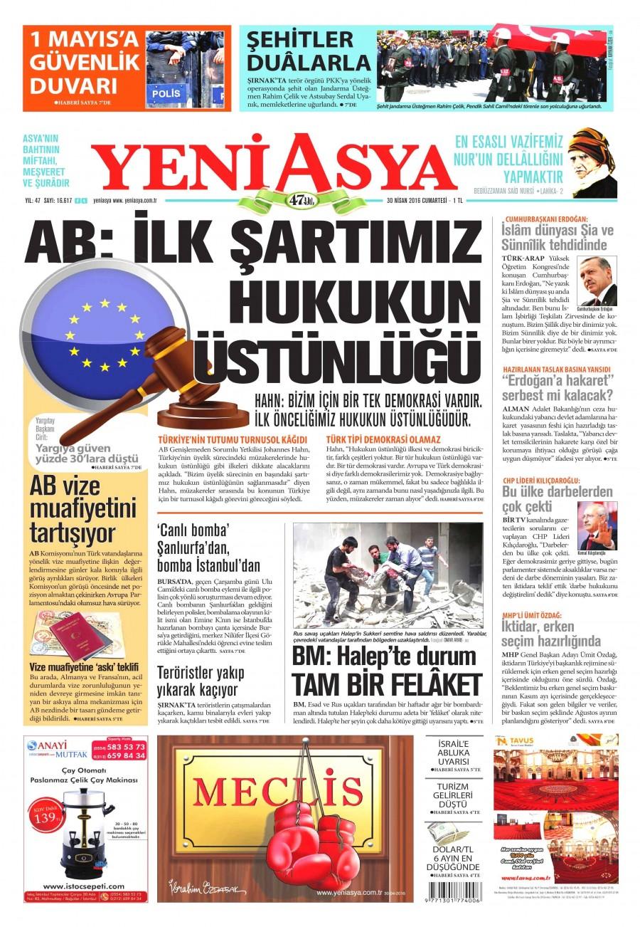Yeni Asya Gazetesi Oku Bugün 30 Nisan 2016 Cumartesi