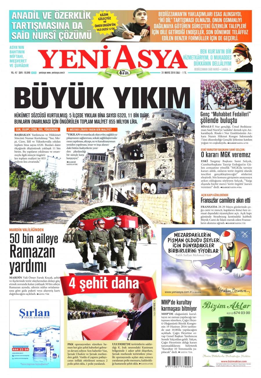 Yeni Asya Gazetesi Oku Bugün 31 Mayıs 2016 Salı