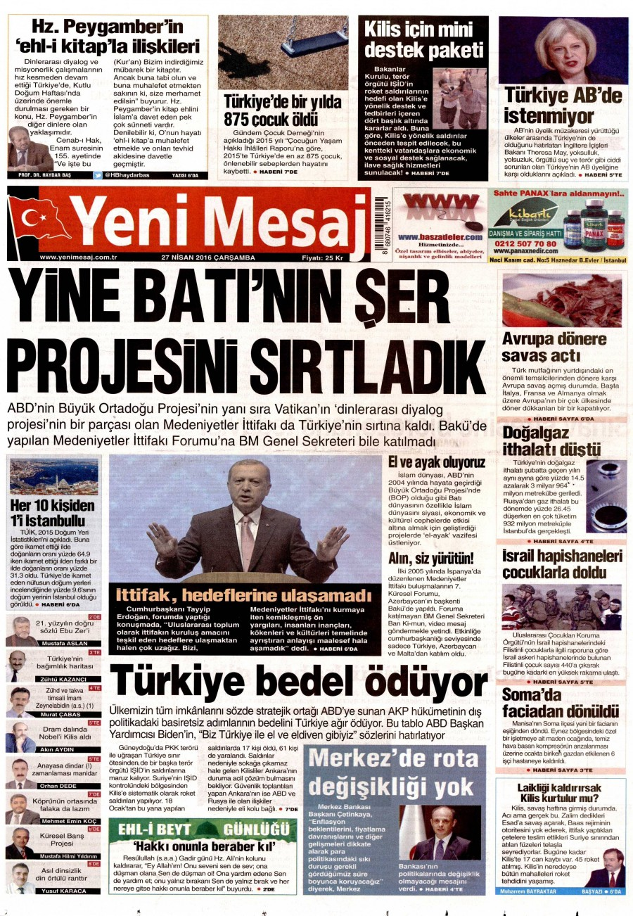 Yeni Mesaj Gazetesi Oku 27 Nisan 2016 Çarşamba