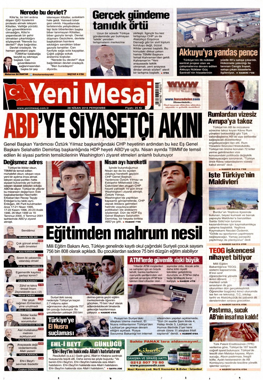 Yeni Mesaj Gazetesi Oku 28 Nisan 2016 Perşembe