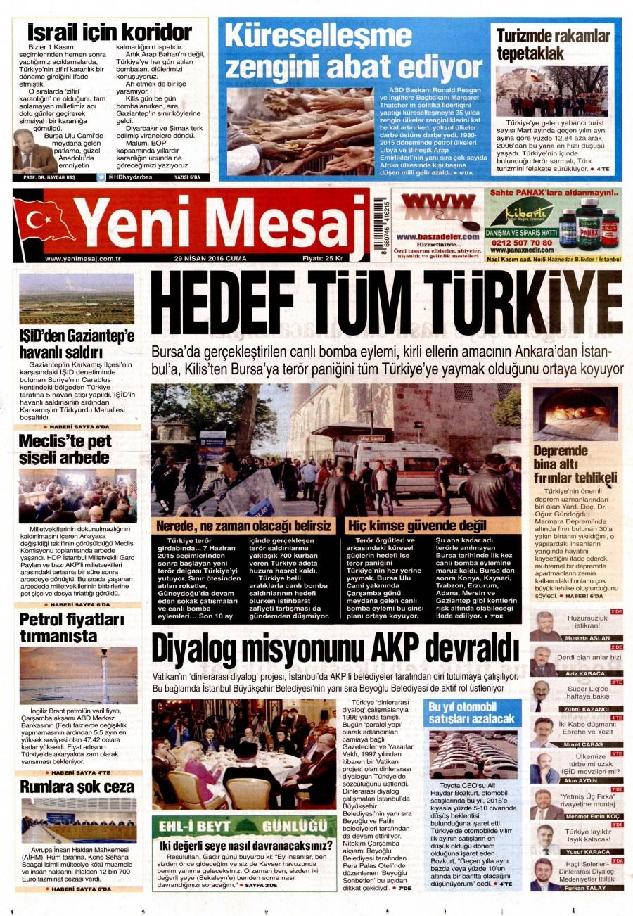 Yeni Mesaj Gazetesi Oku 30 Nisan 2016 Cumartesi