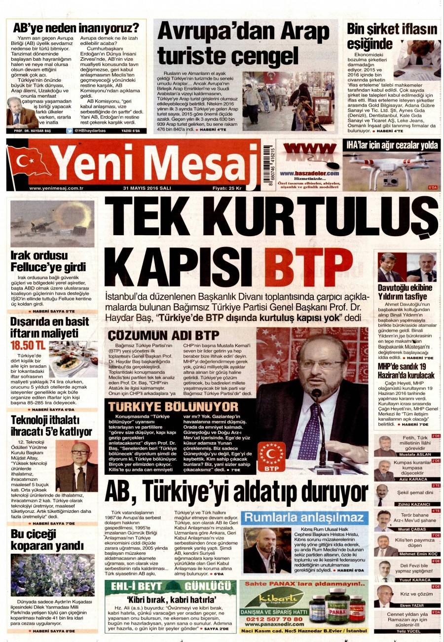 Yeni Mesaj Gazetesi Oku Bugün 31 Mayıs 2016 Salı