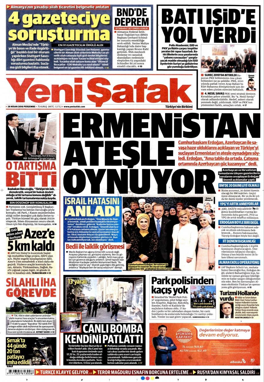 Yeni Şafak Gazetesi Oku Bugün 28 Nisan 2016 Perşembe