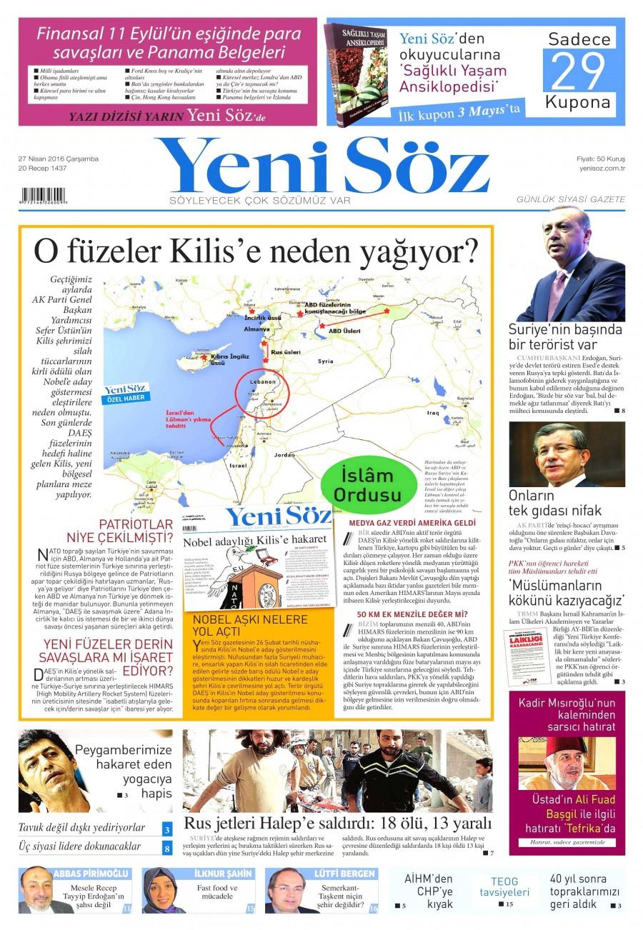 Yeni Söz Gazetesi Oku Bugün 27 Nisan 2016 Çarşamba