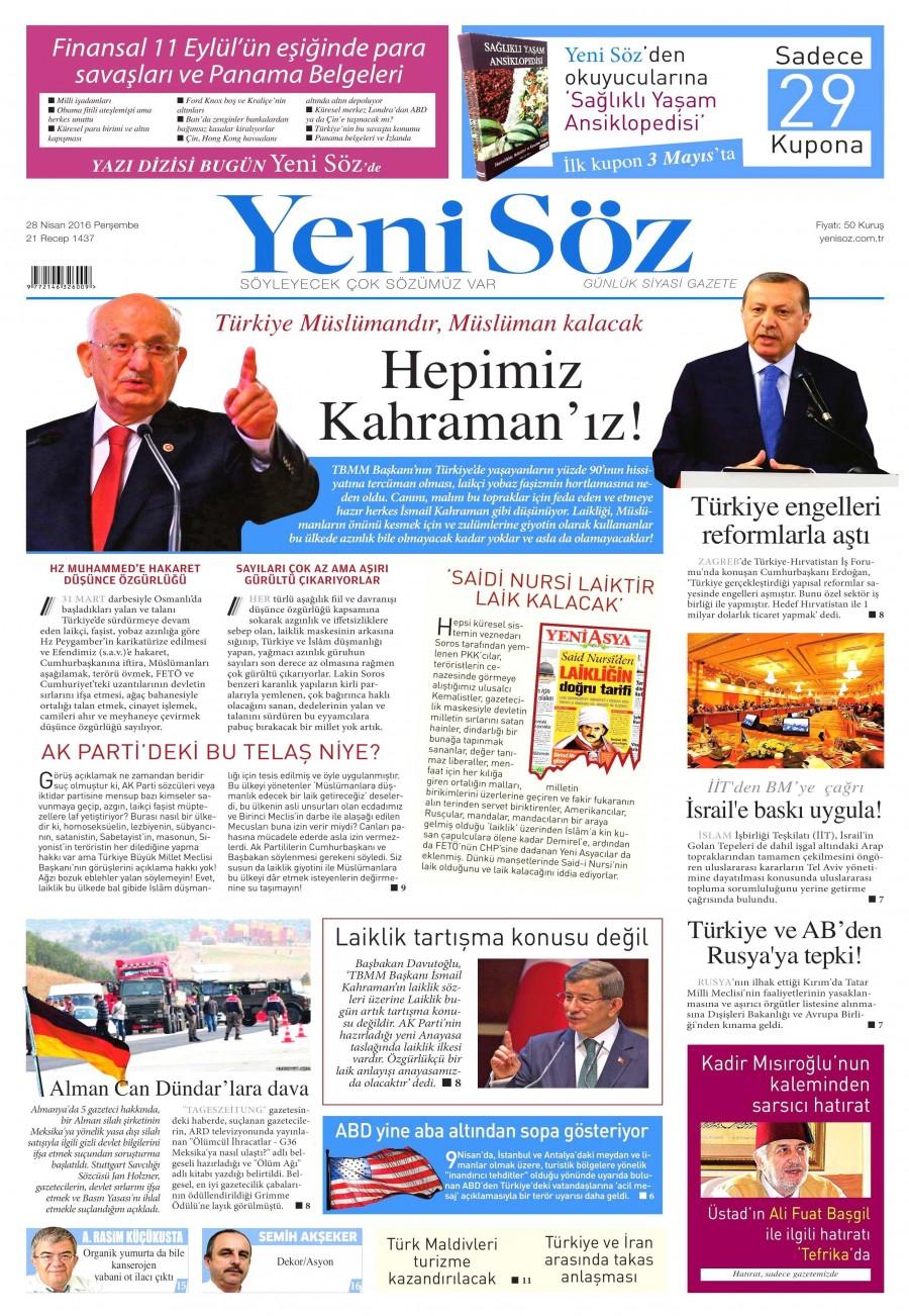 Yeni Söz Gazetesi Oku 28 Nisan 2016 Perşembe