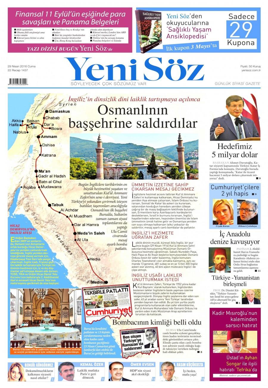 Yeni Söz Gazetesi Oku Bugün 29 Nisan 2016 Cuma