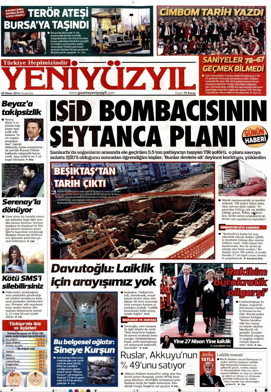 Yeni Yüzyıl Gazetesi Oku 29 Nisan 2016 Cuma