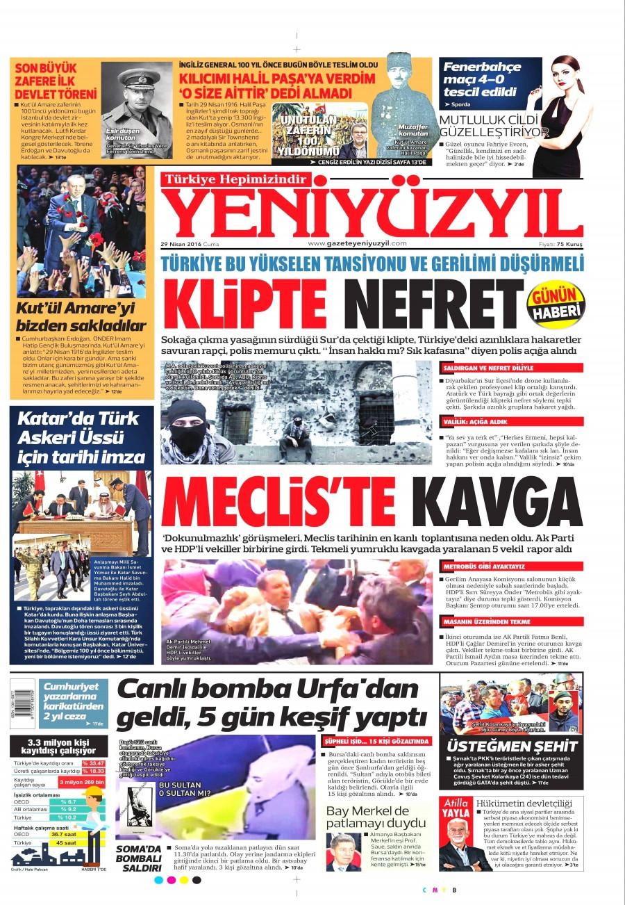 Yeni Yüzyıl Gazetesi Oku 30 Nisan 2016 Cumartesi