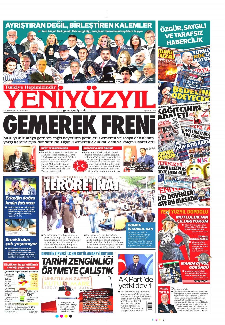 Yeni Yüzyıl Gazetesi Oku Bugün 30 Nisan 2016 Cumartesi