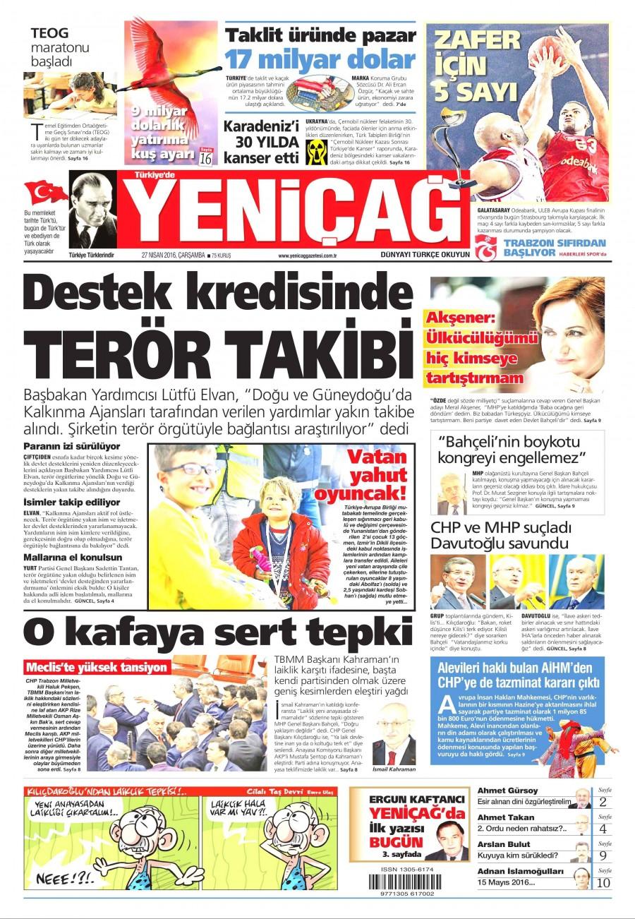 Yeniçağ Gazetesi Oku Bugün 27 Nisan 2016 Çarşamba