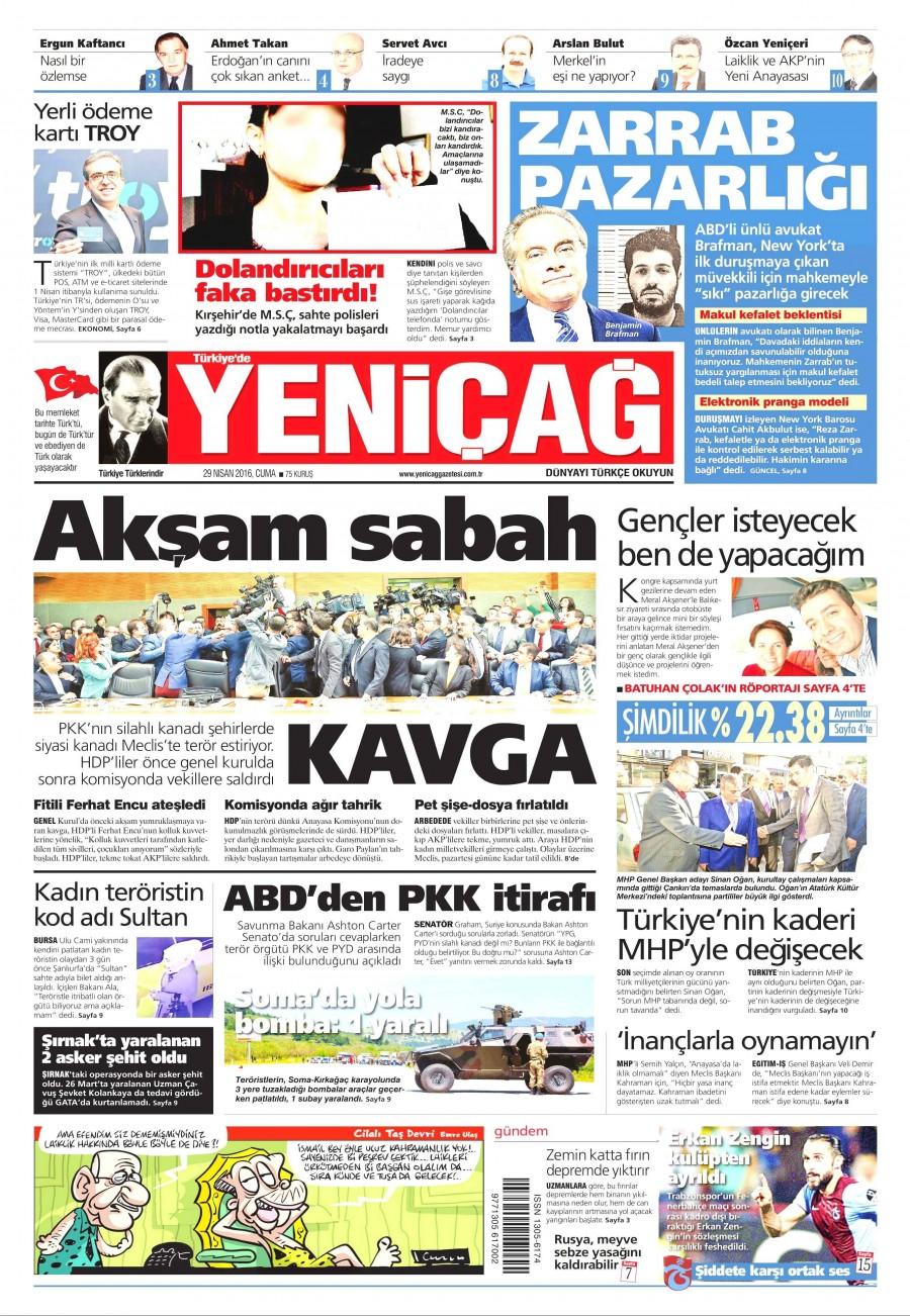 Yeniçağ Gazetesi Oku 30 Nisan 2016 Cumartesi