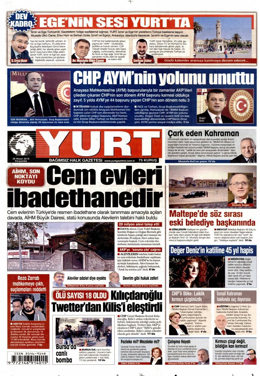 Yurt Gazetesi Oku Bugün 28 Nisan 2016 Perşembe
