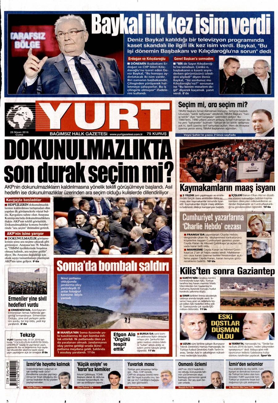 Yurt Gazetesi Oku Bugün 29 Nisan 2016 Cuma
