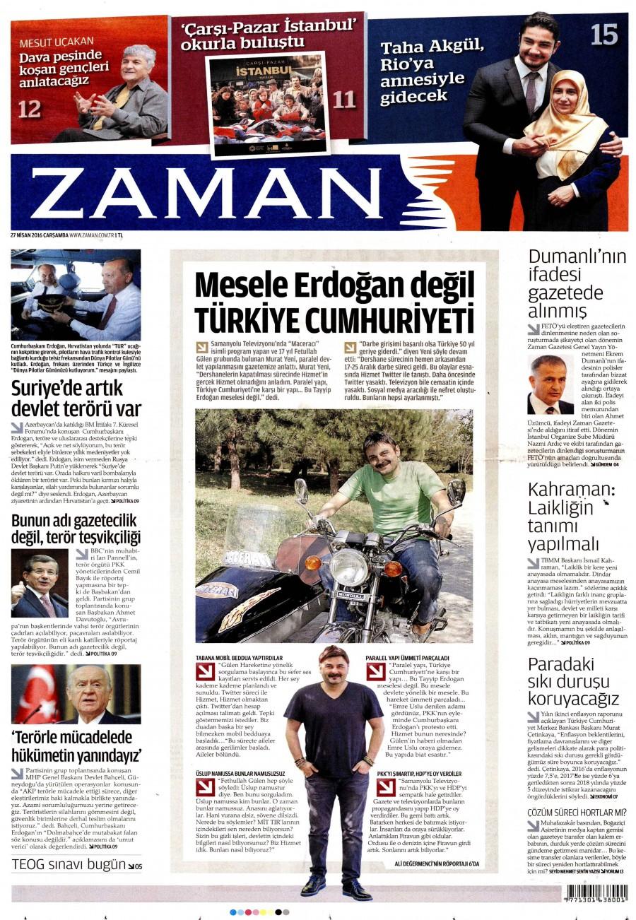 Zaman Gazetesi Oku Bugün 27 Nisan 2016 Çarşamba