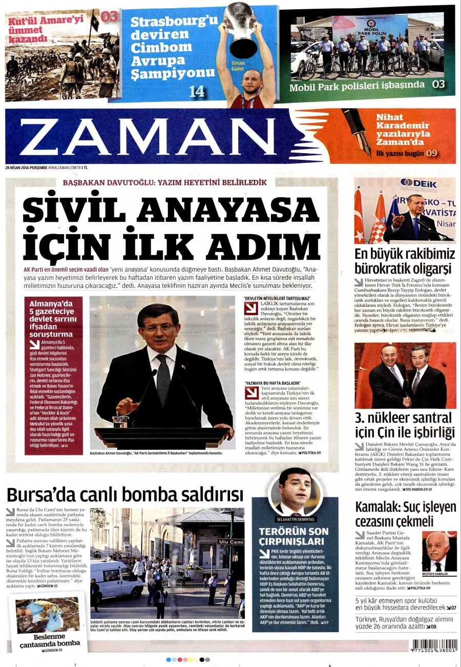 Zaman Gazetesi Oku 29 Nisan 2016 Cuma