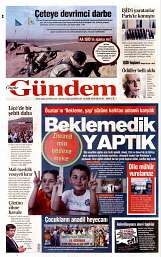 16 Eylül 2014 Tarihli Özgür Gündem Gazetesi