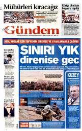 19 Eylül 2014 Tarihli Özgür Gündem Gazetesi